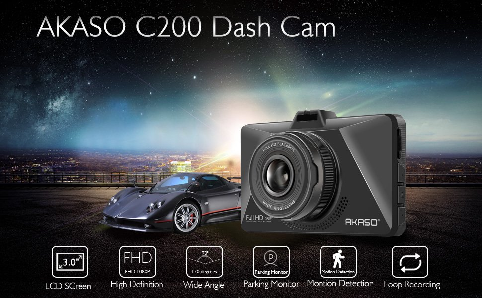 AKASO Dash Cam FHD 1080P 3 Inch Screen Dash Camera